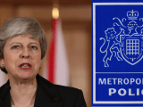 Prime Minister Theresa May and The Metropolitan Police Logo