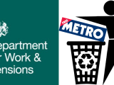 The DWP Logo beside a graphic of the Metro Newspaper being recycling.
