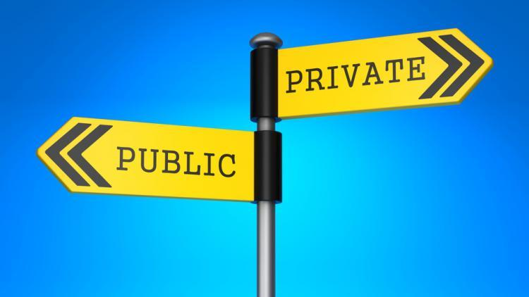 Signpost showing Private vs Public