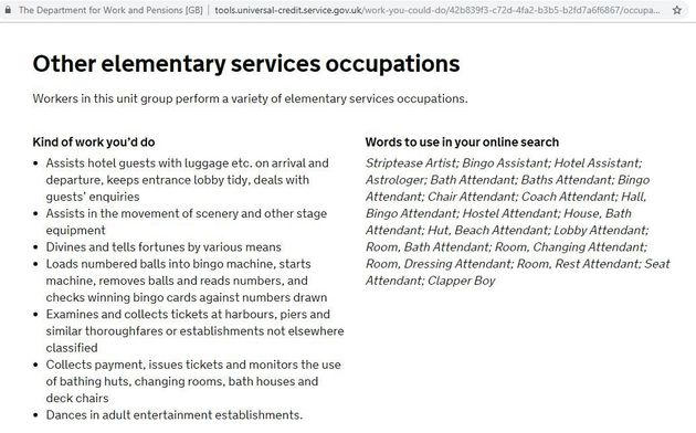 A screen grab of the DWP wqebsite showing the term striptease artist as an appropriate job search term.