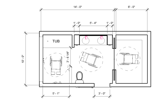 Floorplan of the bathroom.