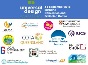 2018 Universal Design Conference Brisbane header with logos.