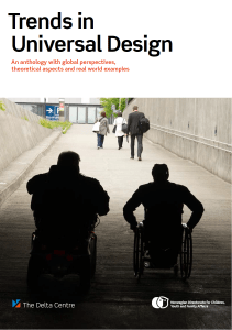 Picture of a long concrete inclined walkway with the silhouette of two wheelchair users
