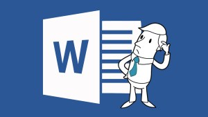 Graphic of Microsoft Word with a cartoon person scratchng their head