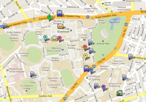 picture of a Google map with icons for parking and transport