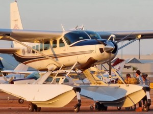 Picture shows the front view of a sea plane on the tarmac