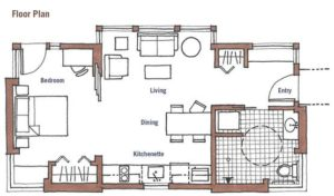 Floor plan for a 52 sqm home