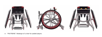 Showing three views of a wheelchair for table tennis players