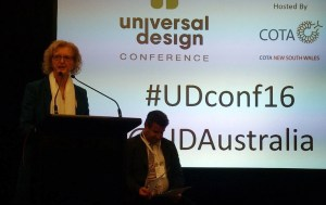 Jane Bringolf announcing Centre for Universal Design Australia at the UD Conference