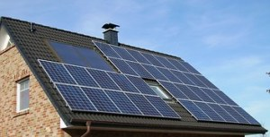 Roof of a house covered in solar panels