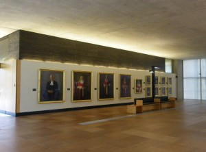 Brisbane Court Building showing a foyer where past Justices official portraits hang.