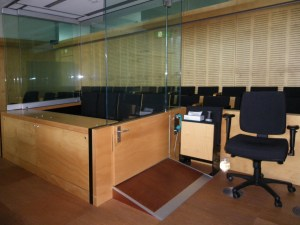 Brisbane court room showing the glass surround for the accused dock.