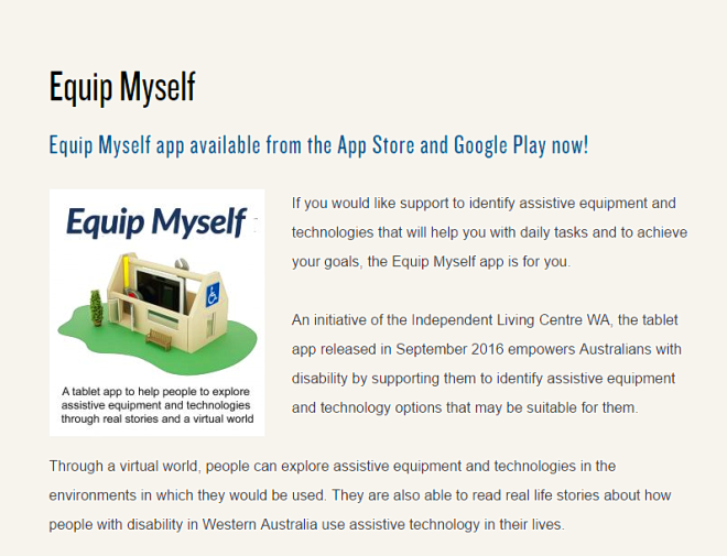 section of Equip Myself app webpage