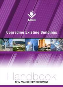 Front cover of the handbook with a purple background and pictures of buildings in a narrow band across the front.