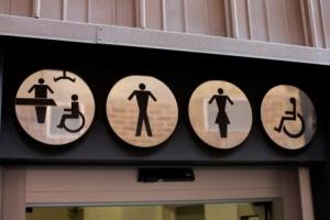 Toilet signage showing Men Women Accessible and Changing Places toilets