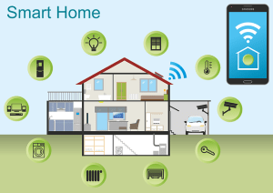A diagram of a two storey house with indications of the different types of technology that can be used and operated with a mobile phone