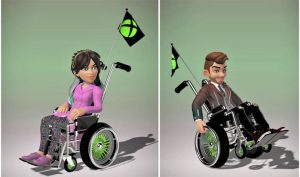 A young male and young female are depicted as wheelchair users