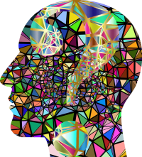 graphic of a side-on view of a head with a mosaic of brightly coloured triangles filling the space