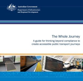 Front cover of the document with the Australian Government logo in white against a dark blue banded background and pictures of a bus ramp and yellow tgsi on station platforms