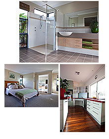 Three photos in one block showing a bathroom, a bedroom and a kitchen