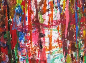 A brightly coloured abstract painting consisting of painbrush lines going in all directions.