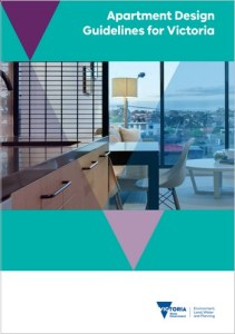 front cover of the guidelines showing a view through an apartment room through the window to the outdoors