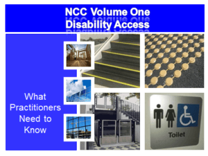 Front cover of the resource kit. Blue background with white text. Four pictures: tactile markers, toilet sign, colour contrast on step nosings, and a doorway