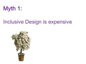 First slide with Myth 1 showing a money tree saying inclusive design is expensive