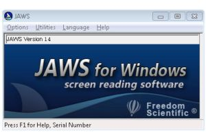A computer screen advertising the Jaws for Windows screen reading software.