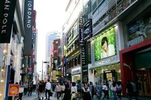 busy street scene in Myeongdong South Korea