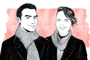 Line drawing of jon and kat. They re both wearing jackets and scarves around their necks.