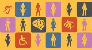 Pictograms of people and access symbols