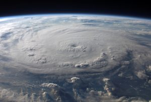 View of a cyclone forming taken from space.