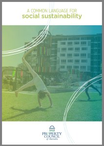 Front cover of the Property Council report. A child is doing cartwheels in a park