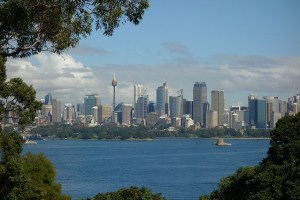 Distant view across Sydney Harbour looking South. Probably taken from Tarongo Zoo