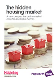 Front cover of Habinteg report showing coins and Monopoly houses