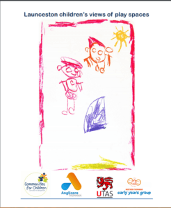 Front cover of the report with a child's drawings of two people and the sun