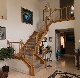 carpeted stairway in a home