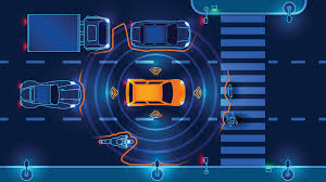 Graphic showing an orange vehicle on a dark blue background with circles indicating the vehicle is communicating with the environment
