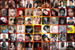 A mosaic of many different faces and nationalities