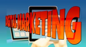 Bright red disappearing text saying digital marketing.