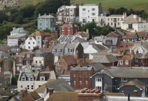 A distance view of different houses in a UK town.