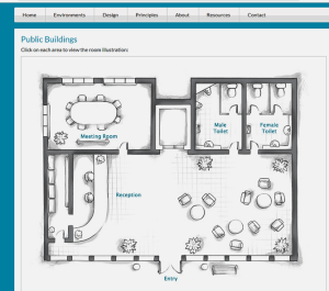 A basic floor plan showing a meeting room, toilets, reception and lobby area.