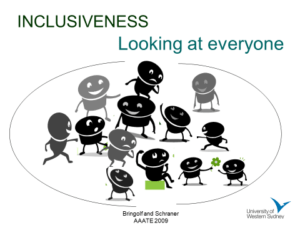 "Graphic of stick people in various poses with the caption, ""Inclusiveness,, looking at everyone"