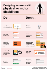 One of the six posters, mobility, showing a short list of do's and don'ts of accessibility.
