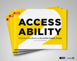 Front cover of the handbook for accessible graphic design. Bright yellow with black text.