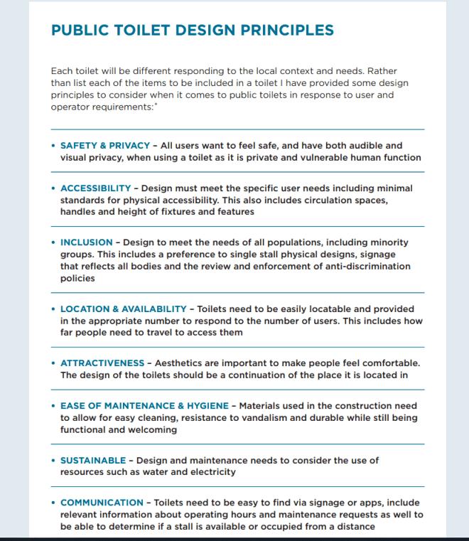 A list of public toilet design principles.
