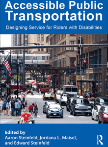 Front cover of the book showing a typical city street in US. There are cars, buses, a train, bicycles and pedestrians.
