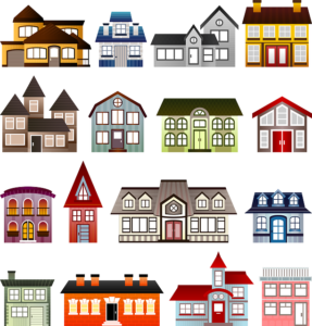 A graphic showing facades of different styles of free standing homes in lots of colours. They look like toy houses.