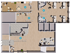 Floor plan of a hospital setting showing different spaces.